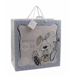 An utterly charming precious little boy gift bag with a rabbit design. From the popular Little Miracles range.