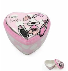 A charming heart shaped trinket box with the popular little miracles bunny design. A great gift and keepsake item.