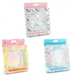 3 quirky and colourfully designed compact mirror and tweezer sets