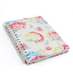 A pretty hard back notebook with a floral hydrangea design with butterflies.