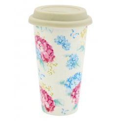 Enjoy your coffee on the go with this pretty floral Hydrangea travel mug.