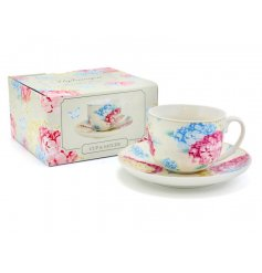 A pretty floral cup and saucer gift set with gift box.