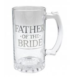 Large and stylish tankard. With its silver inscription, this is the perfect gift to give to the father of the bride