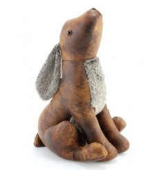 A rustic style faux leather hare doorstop with faux fur chest and ears.