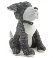 A charming dog doorstop in two-tone grey fabric with a chic bow to finish.
