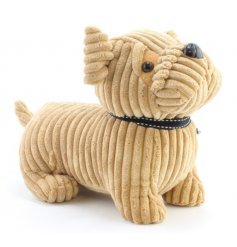 An adorable corduroy cream pug doorstop with a bow to finish.