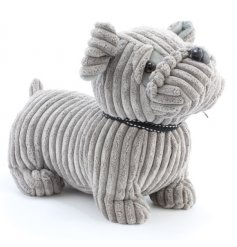 An adorable grey fabric doorstop. A must have for the home, especially if you're a lover of dogs.