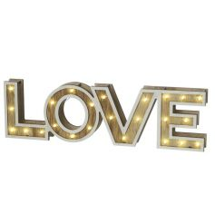 A shabby chic style wood effect LOVE sign with LED lights.