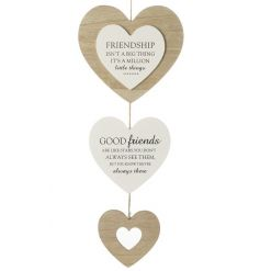A shabby chic wooden hanging heart decoration with lovely friendship sentiments.
