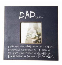 A beautiful chunky wooden photo frame in a deep blue tone, a perfect gift idea for any loved dad