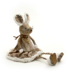 An adorable winter mouse decoration with a fabric snowy outfit. An adorable shelf sitting decoration.