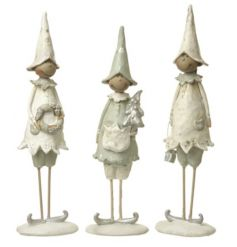 A mix of 3 charming elf decorations with a touch of silver. Each has a mischievous expression, ideal for elves!