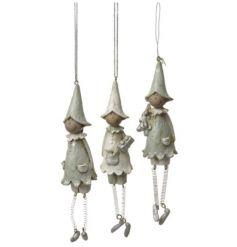 An assortment of 3 hanging elf decorations with springy legs. A chic and quirky decoration for the festive tree.