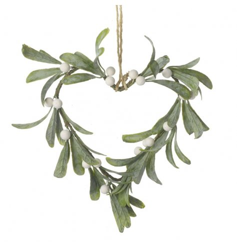 A chic heart shaped wreath with artificial mistletoe and a jute string hanger.