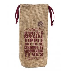 A hessian drawstring wine bag for Christmas