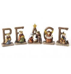 Bring back the traditions of nativity sets with this sweet little group of resin figures and letters