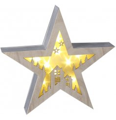 Festive scene wooden LED star