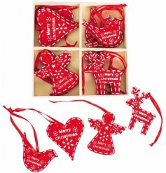 A Box Of 16 assorted Red & White Christmas Hanging Decorations