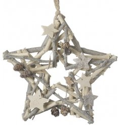 A white and silver twig wreath in the shape of a star