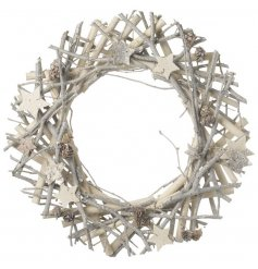 A white and silver twig wreath with stars