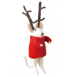 A little mouse wearing a red jumper with large antlers christmas decoration