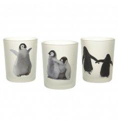 A Set Of 3 Glass Penguin T-light Holders