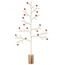 White Wool Tree With Red Berry Decor  A stylish woollen alternative tree for this festive season