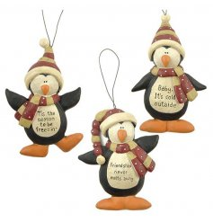 Set Of 3 Hanging Penguins  3 fun hanging resin penguin figures