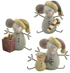 this sweet trio of sitting resin mice will add that cute festive feel to any display or home