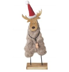 A sweet little festive wooden figure, complete with a santas hat and woolly body