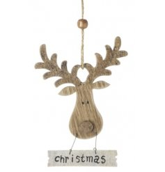A sweet hanging wooden reindeer head complete with natural toned antlers and a hanging christmas sign to match