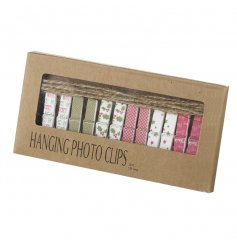 A box of 12 hanging photo clips