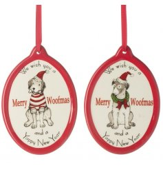 A fun assorted mix of hanging ceramic doggy themed christmas decorations