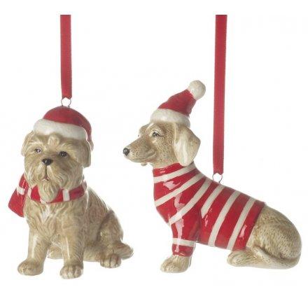Hanging Ceramic Festive Dogs