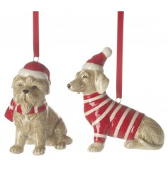 A festive mix of hanging ceramic dogs dressed up in festive attire