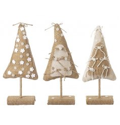 An assortment of 3 small hessian christmas tree decorations