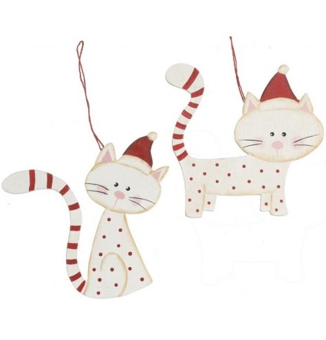 Rustic wooden cat decorations with polkadot print bodies and stripy tails. Complete with red Santa hats