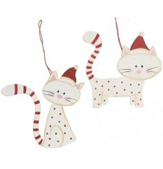 An assortment of 2 red and white spotty and striped cat hanging decoration