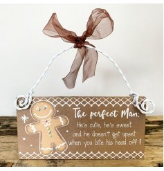 The Perfect Man Hanging Sign With Gingerbread man & Bow