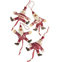 A mix of wooden snowmen and santas with red and white patterns hanging decorations