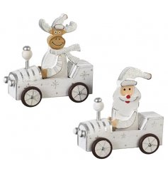 An assortment of 2 wooden Santa and Moose in cars christmas decoration.