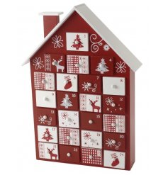 This fun and quirky red and white themed advent calendar is a perfect way to count down the days to christmas