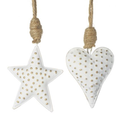 Hanging White and Gold Star/Heart Mix