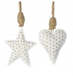 A mix of festive white hanging metal star and heart decorations
