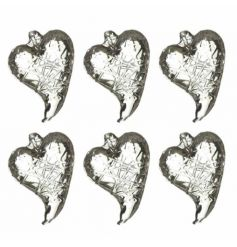 A set of 6 glass heart decorations with a lattice design.
