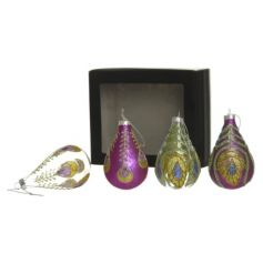 A set of 4 glamorous and colourful glitter peacock baubles in a unique teardrop design.