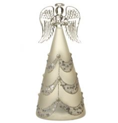 A decorative glass angel with pearls and sequins. With a light up feature this makes a stunning decorative accessory