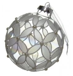 Beautifully designed hanging glass bauble with a flower like pattern.