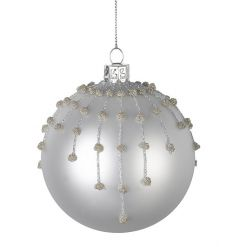 An elegant silver glass bauble with glitter silver and gold decorations. A stunning must have for your festive tree.