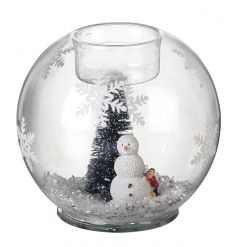 A beautiful little snow scene inside this glass dome can add a warm festive to any place.
